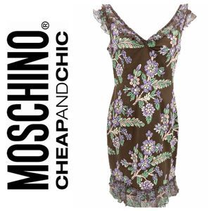Moschino Cheap and Chic Brown Floral Denim Dress